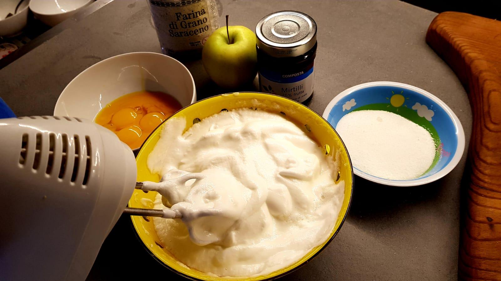 Ingredienti per la torta di grano saraceno e mirtilli di Valtellina